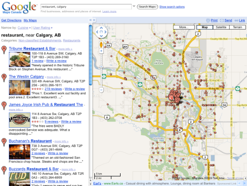 Google Maps Search for Restaurant in Calgary