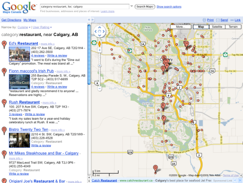 Another search on Google Maps for restaurant in Calgary