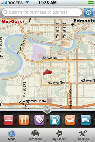 The Mapquest 4 Mobile menu bar