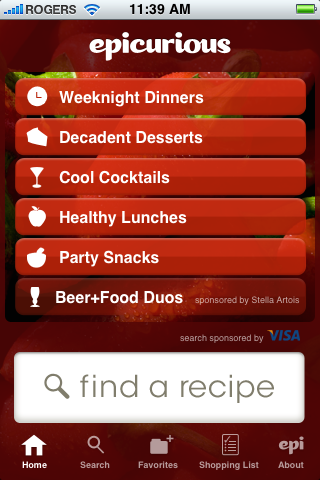 Brand advertising in the Epicurious iPhone app